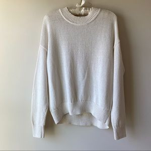 H&M Slouchy Oversized Cream Knit Sweater Sz M